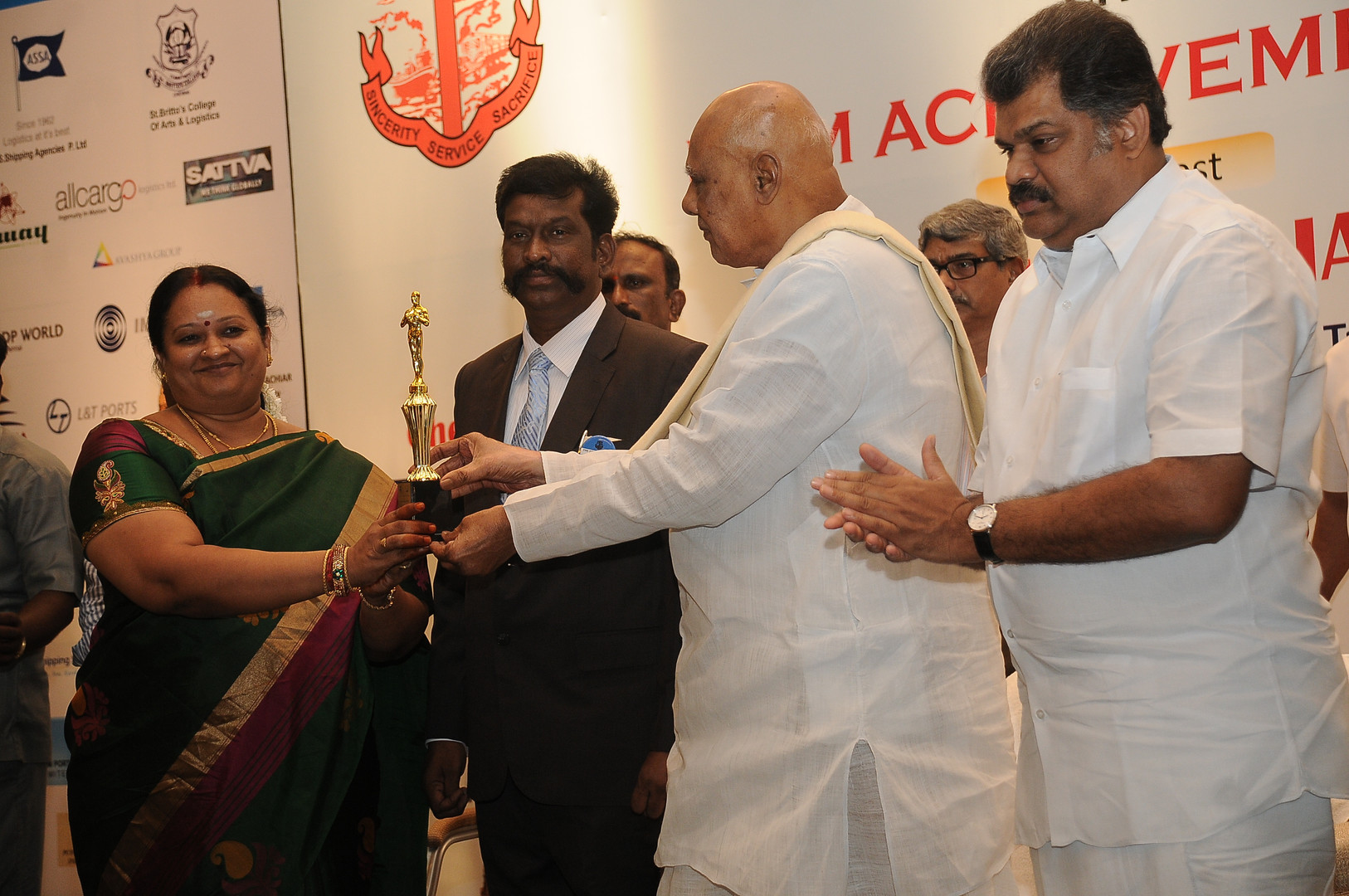 Award from Tamil Chamber of Commerce for securing 3rd Place in number of shipping bills filed. Dr. Rosaiah, has handed over the award