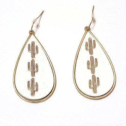 Teardrop Wood Cactus Earrings