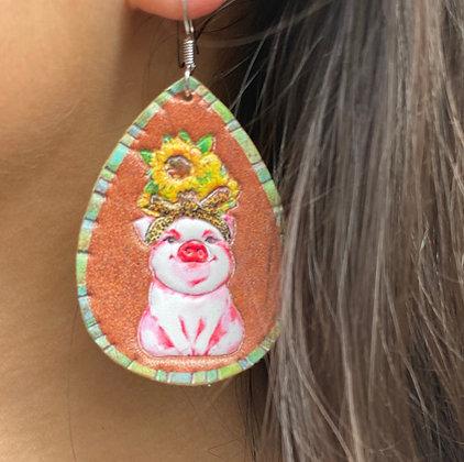 LEATHER TEARDROP EARRINGS - PIG