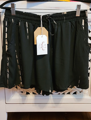 Tan Striped Black Shorts