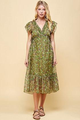 Olive Floral Dress - PINCH