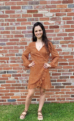 Orange Tie Back Polka Dot Dress