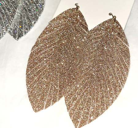 Fringed Glitter Feather Earrings -Rose Gold