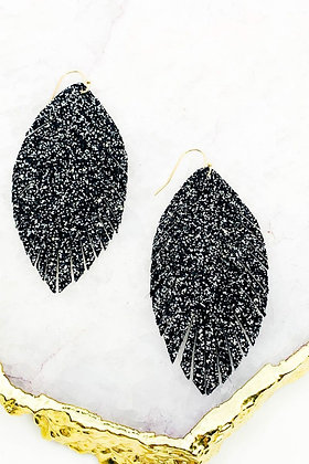 Fringed Glitter Feather Earrings - Black