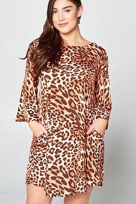 Peek a Boo Back Animal Print Dress Curvy