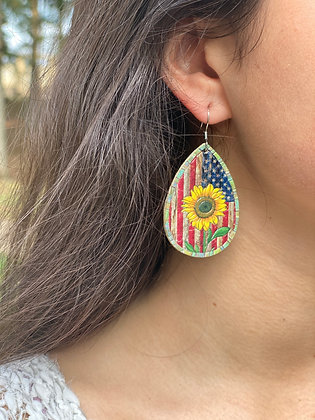 American Flag with Sunflowers Leather Teardrop Earrings