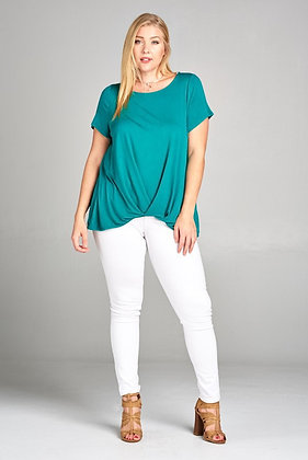 Jersey Front Wrapped Hem Top Curvy