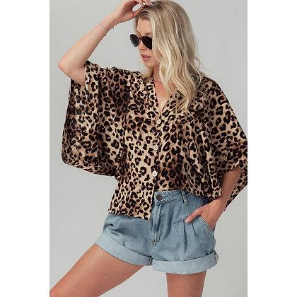 Leopard Button Up Kimono