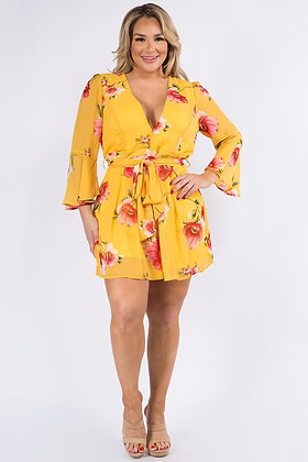 Yellow Floral Romper Curvy