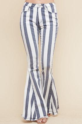 Striped Fringed Stretchy Denim Flares
