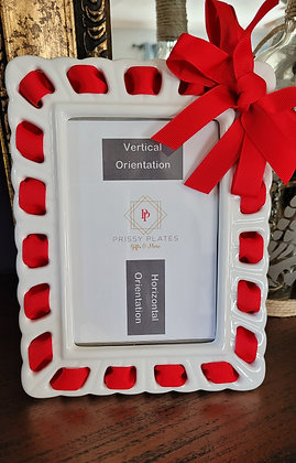"""4"""" x 6"""" White/Ivory Picture Frame w/ Red Ribbon"""