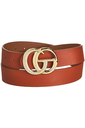 Cognac Belt with Rhinestone Accent
