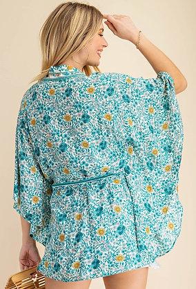 Flower Print Kimono -Teal