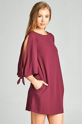 Dress with Pockets and Tie Sleeve