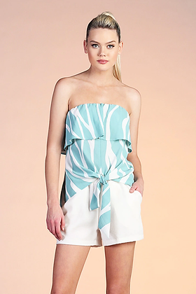 Pretty Mint Colored Flow Print Strapless Top