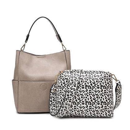 Abby Warm Grey w/ Cheetah Print Bag