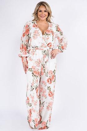 Floral Chiffon Long Sleeve Jumpsuit Curvy
