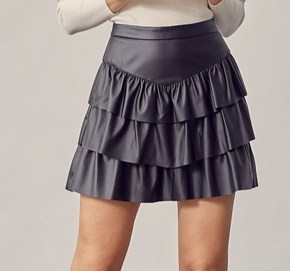 FAUX LEATHER TIERED MINI SKIRT