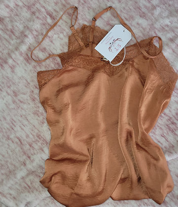Satin Lace V-Neck Cami In CANYON