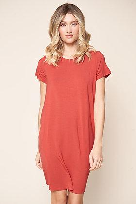 Weekender T Shirt Mini Jersey Knit Dress w/ Pockets