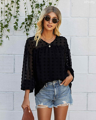 Pretty in Black Long Sleeve with Embroidered Detailing