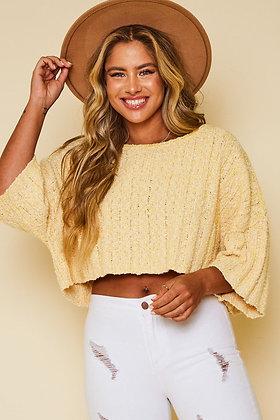 Half Sleeve Two Tone Boucle Rib Knit Crop Sweater