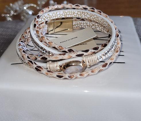 Arabella Leather Wrap Crystal Bracelet
