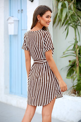 Brown Striped Wrap Dress