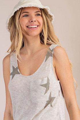 Star Print Sweater Knit Tank Top