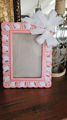 "4"" x 6"" Pink Ceramic Frame w/ White Ribbon"