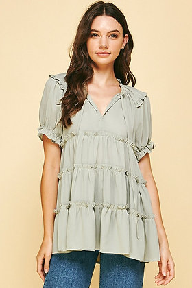 Short Sleeve Tiered Top in Sage