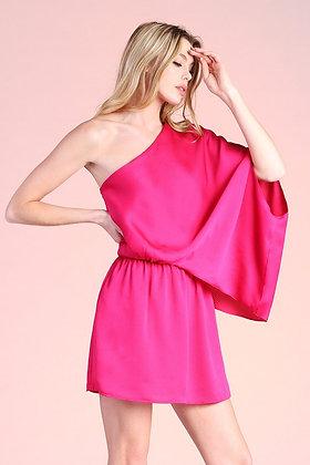 One-Sleeve Dress in Raspberry