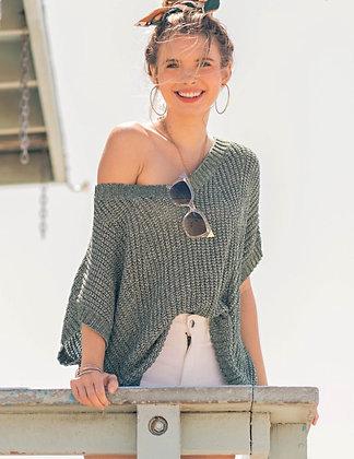 V-Neck Off Shoulder Sweater