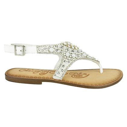 Naughty Monkey White Jeweled Sandal