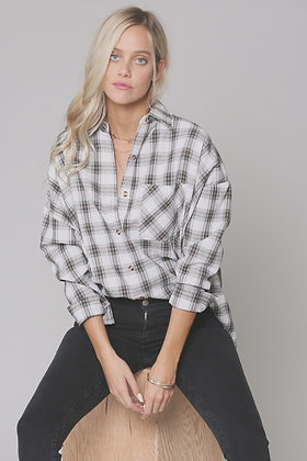 OVERSIZED BUTTON DOWN PLAID SHIRT