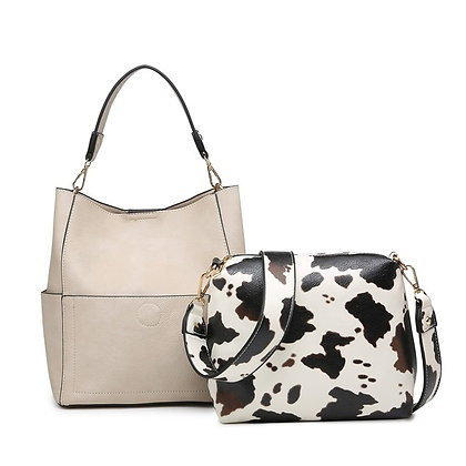 Abby Light Sand w/ Cow Print Bag - 2in1 Bag