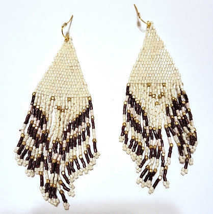 DELICATE BEAD FRINGE EARRINGS - WHITE