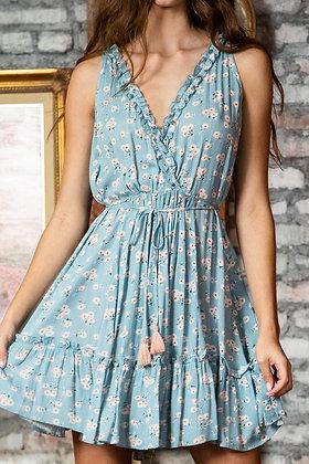 Baby Blue Floral Mini Dress