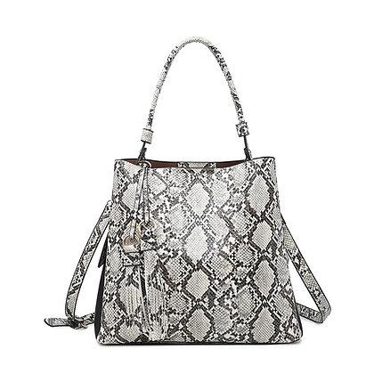 Olivia Python Black & White Hobo Bag