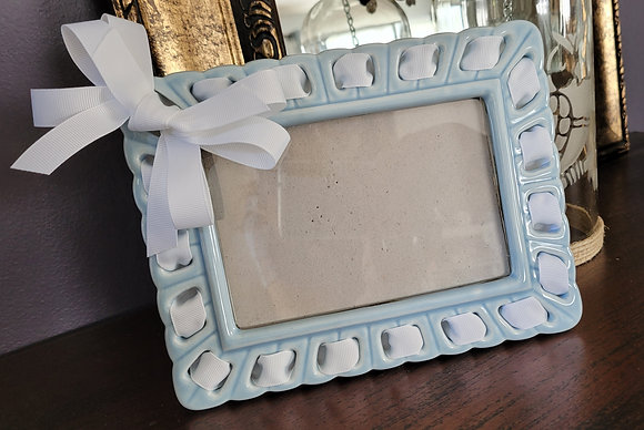 "4"" x 6"" Light Blue Ceramic Frame w/ White Ribbon"