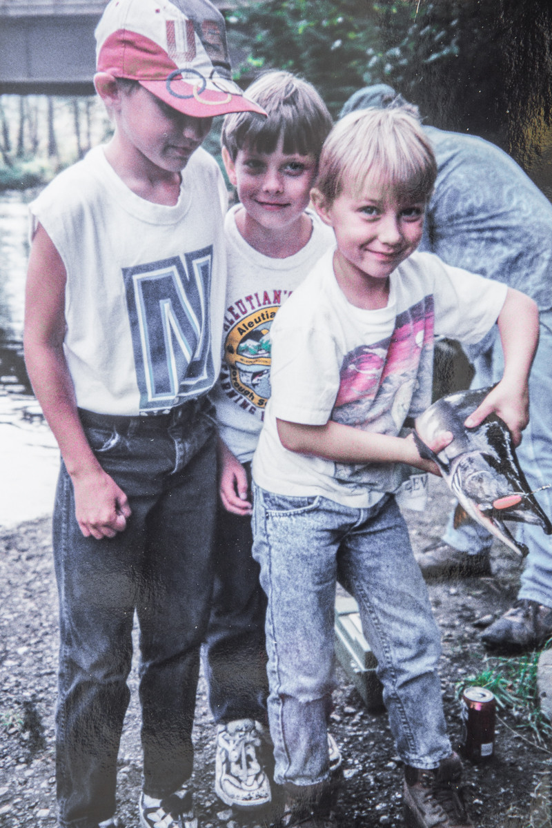 Sutton (10), Everett (9), and Ethan (7) Salmon Fishing onDuke Creek