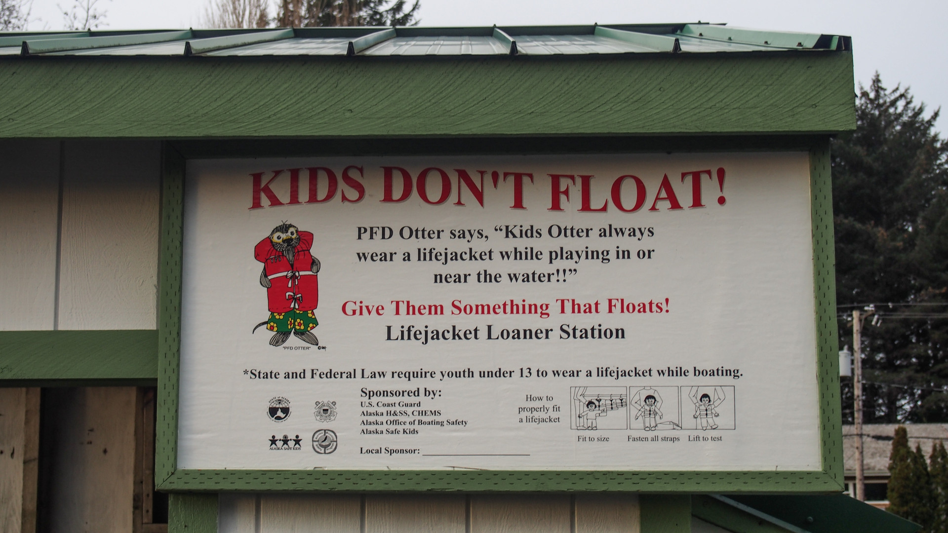 Thorne Bay Dock Life Vest Sign