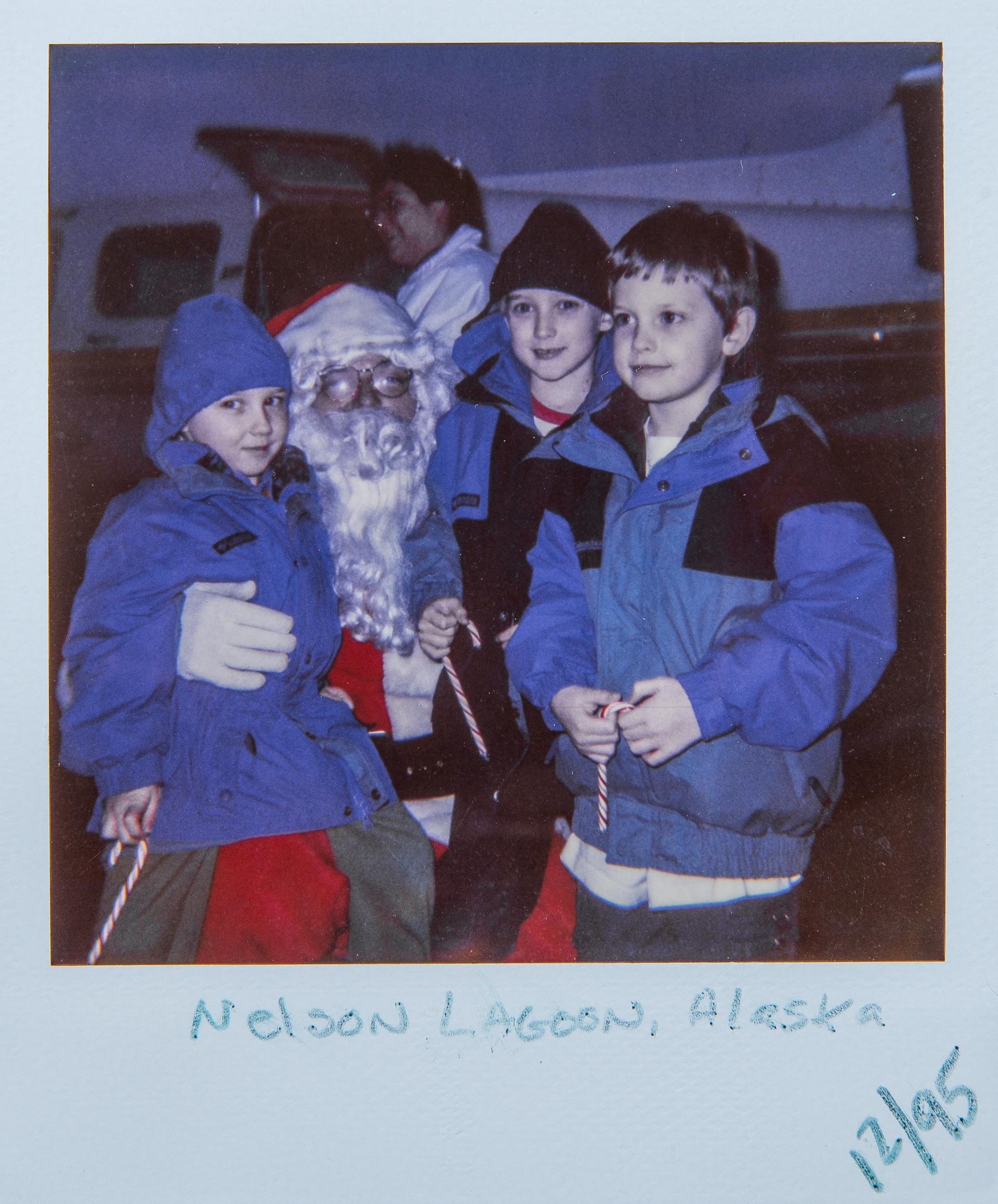 Ethan, Sutton, Everett Cook with Santa