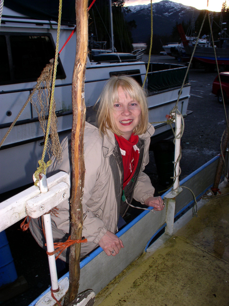 Neva Robertson Climbs Aboard Her Sailboat