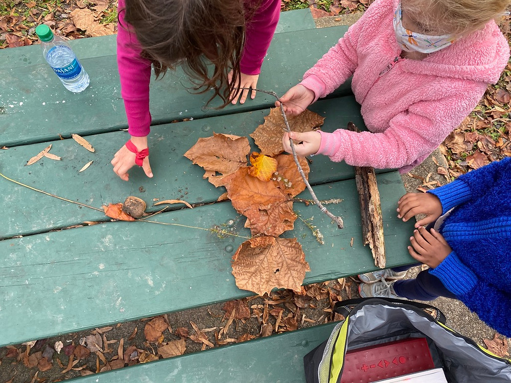Our children were making art with leaves, twigs and stones....