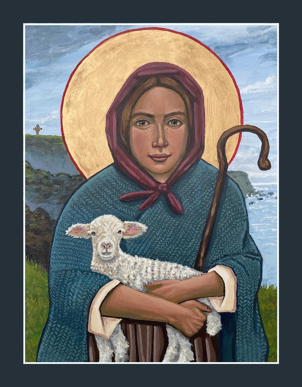 This Icon is for the Priests, spiritual directors, counselors, elders, deacons, nuns, God-parents, Mothers, and Sisters; it is for all of the women who have guided me on my journey.  This icon was commissioned by Rev. Sharon Swanson for her Daughter. The Shepherdess stands on the cliff faced shore of Shetland Scotland.  Prints available @ kellylatimoreicons.com  #iconography #womenshistorymonth #womenshistorymonth2021 #thegoodshepherd #thegoodshepherdess