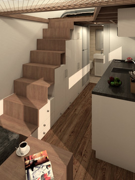 Traveller Tiny House Loft Stairs by Big Tiny