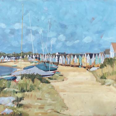 Boats And Beach Huts, Mudeford Sandbank (Sold)