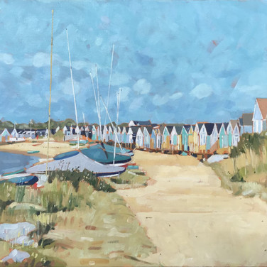 Boats And Beach Huts, Mudeford Sandbank (Sold)