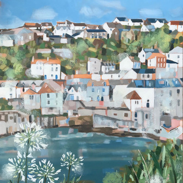 Port Isaac And Agapanthus (Sold)